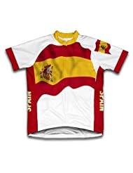 Spain Flag Short Sleeve Cycling Jersey for Women
