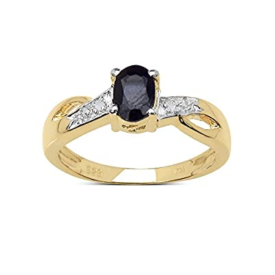 The Sapphire Ring Collection: Beautiful 14K Gold Plated Sterling Silver Oval Black Sapphire Engagement Ring with Diamond Set Shoulders