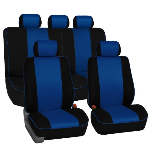 Fh-Fb063115 Cloth Car Seat Covers With Piping Full Set Airbag & Split Ready Blue front-28420
