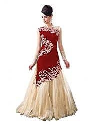 Maa Textile Women's red & white Net semi-Stitched Gown(H131-02_red_free size)