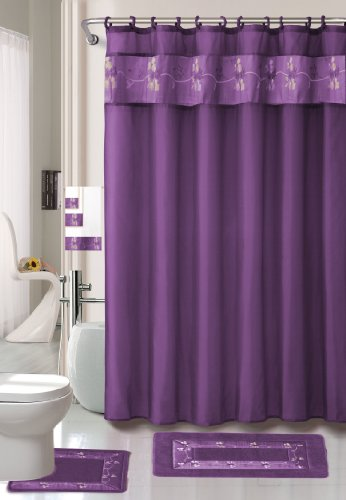 Purple Flower 18-piece Bathroom Set: 2-rugs/mats, 1-fabric Shower Curtain, 12-fabric Covered Rings, 3-pc. Decorative Towel Set