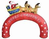8' Airblown Inflatable Santa Sleigh Merry Christmas Arch Lighted Yard Art Decor