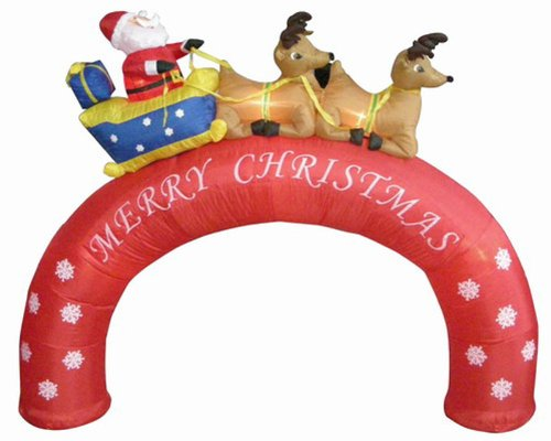 8' Airblown Inflatable Santa Sleigh Merry Christmas Arch Lighted Yard Art Decor front-70787