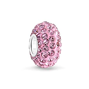 Bling Jewelry Sterling Silver Pink Swarovski Crystal Bead Pandora Compatible