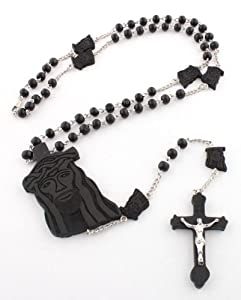 Black Wooden Jesus Rosary Pendant with a 36 Inch Beaded Necklace & Jesus Heads