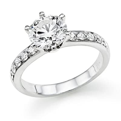 1.20 ctw. Round Diamond Solitaire Engagement Ring in 18k White Gold EGL Certified (E Color / SI1 Clarity Enhanced)