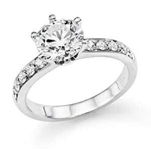 3/4 ctw. Round Diamond Solitaire Engagement Ring in 18k White Gold EGL Certified (I Color / VS2 Clarity Enhanced)