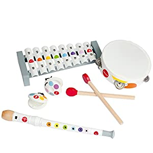 Musical Instrument Set- Includes Castanets, Xylophone, Recorder and Tambourine by Janod