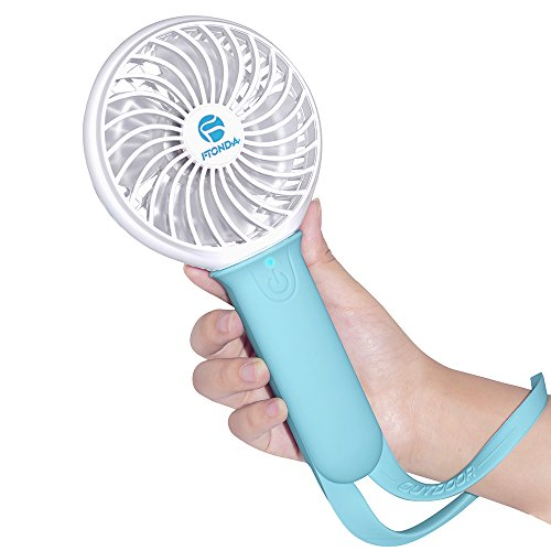 Ftonda Portable Handheld Fan,Rechargeable USB Powered Fan with 18650 Li-ion Battery for Charging Smart Phone, Functional Outdoor Fan with Light for Camping,Hiking,Climbling Cooling (Blue) (Battery Fan Grill compare prices)