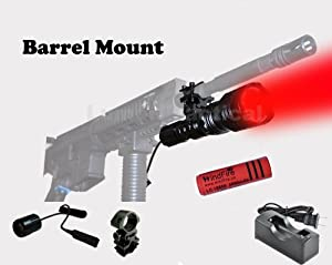 WindFire® [A Complete Set] WF-802 350 Lumens Waterproof 18650 Battery Tactical Flashlight 250 Yards Long Range Throwing RED Hunting Light RED Cree LED Coyote Hog Hunting Light Lamp Torch with Remote Pressure Switch & Barrel Mount 18650 Rechargeable batte