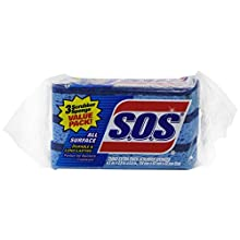 S.O.S. All Surface Scrubber Sponge, 3 Count (Pack of 8)