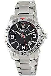 Wenger 79139 Alpine Swiss Army Men's Black Dial Watch Steel Bracelet