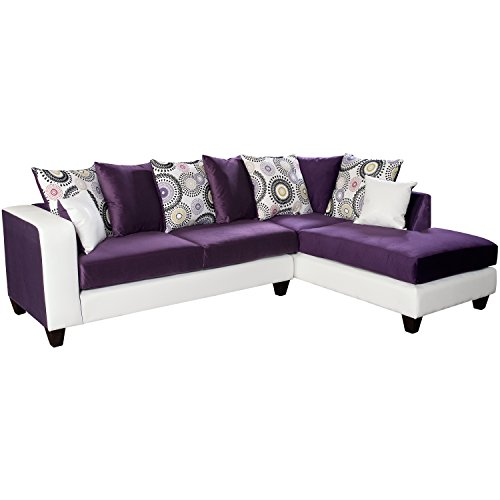 Flash Furniture Riverstone Implosion Velvet Sectional Sofa, Purple