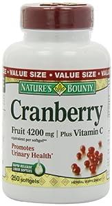 Nature's Bounty Cranberry Fruit 4200mg/ Plus Vitamin C, 250 Softgels