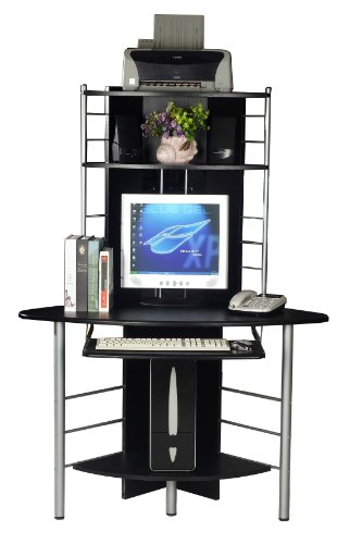 COMPUTER DESK HOME OFFICE FURNITURE PC TABLE BLACK