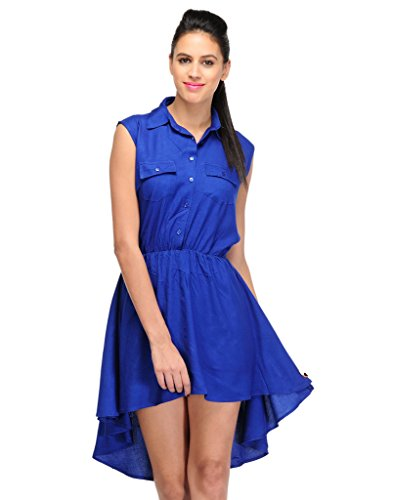 Yogalz Blue Color Women Western Party Wear Viscose Dress Casual Evening Girls Dresses