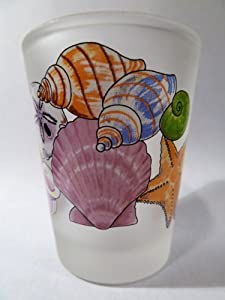 Sea Shells Frosted Caribbean Shot Glass