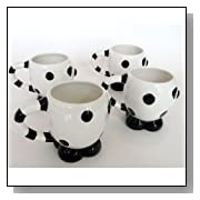Black & White Kitty Cat Lovers Themed Gift Set Of 4 Ceramic Mugs