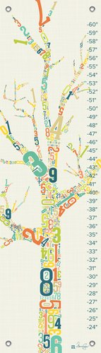 Oopsy Daisy Growth Charts Numbers Tree by Marcie Carson, 12 by 42-Inch