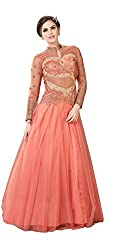 Justkartit Women's Peru Color Long Floror Length Gown Style Semi-Stitched Dress Material (Latest Wedding Fashion)