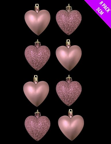 Light Pink Heart Xmas Ornaments