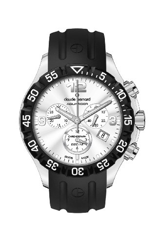 Claude Bernard Men's 10205 3 AIN Aquarider Silver Chronograph Rotating Bezel Rubber Watch