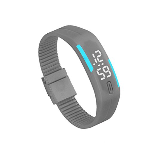 Bolayu Mens Womens Rubber LED Sports Waterproof Watch Bracelet Digital Wrist Watch Gray (Waterproof Jelly Watch compare prices)