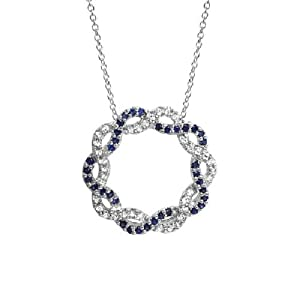 Sapphire and White Topaz Intertwined Circle Silver Pendant