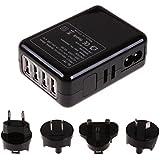 Generic 4-Port USB Portable Travel Wall Charger AC Power Adapter W/ US/AU/EU/UK Plug Kit