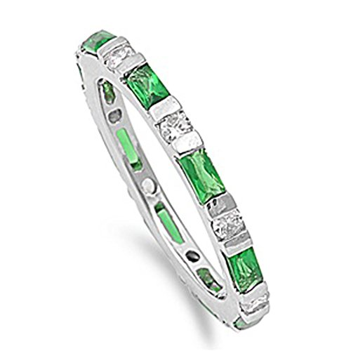 Sterling Silver Woman'S Green Colored Cz Eternity Ring Unique Comfort Fit 925 Band 3Mm Size 9 Valentines Day Gift