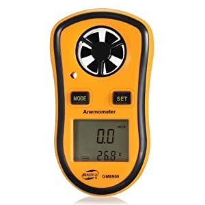 Mini Digital LCD Display Wind Speed Gauge Meter Anemometer + Thermometer NTC C/F (orange)