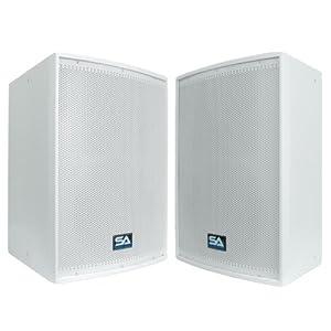 "Seismic Audio - Pair of 12"" White Church PA/DJ Speakers - White Textured Painted Monitors"