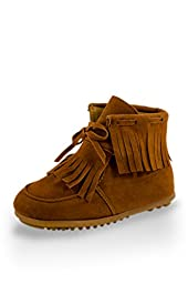 Twinkie Single Fringe Ankle High Moccasins Brown Little Kid Size 11