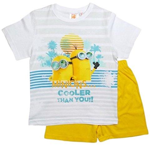 Minions Pyjama Kollektion 2016 Shortie 92 98 104 110 116 122 128 Shorty Kurz Schlafanzug Weiß-Gelb (92 - 98)