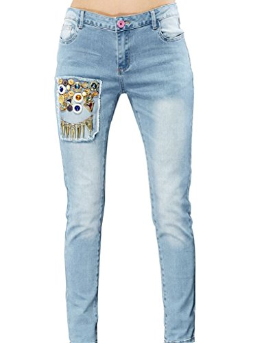 Elf Sack Womens Autumn Jeans Middle-Rise Colorful Buttons Washing Medium Size Blue