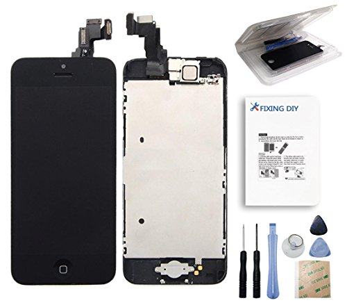 For Iphone 5C Black Full Set With Spare Parts Lcd Screen Replacement Digitizer With Home Button, Bracket, Flex, Sensor, Front Camera, Frame Housing Assembly Display Touch Panel + Free Repair Tool Kits [Ships From Usa]