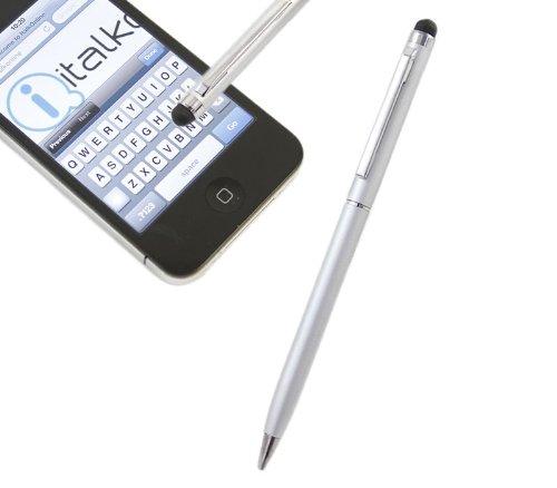 iTALKonline SILBER IDUO Captive Touch-Tip-Stift mit Rubber Tip mit Roller Kugelschreiber für Samsung C3312R Rex 60
