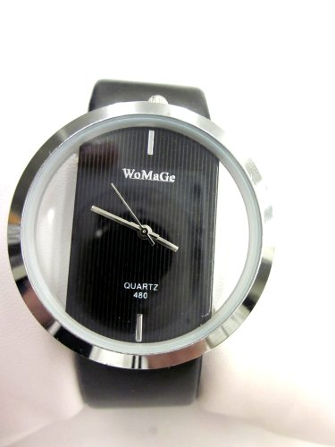 Holiday Gift Elegant Black Pu Leather Watch With Transparent Glass Dial Gift Box Included.