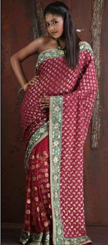 Wedding Embroidered Ethnic Traditional Wine Net Saree Sari Wrap Belly Dance Dress with Blouse