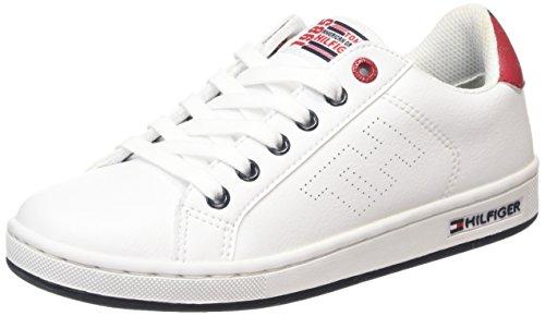 Tommy Hilfiger B3285ASKET 1S Scarpe Low-Top, Bambini e ragazzi, Bianco (White 100), 35