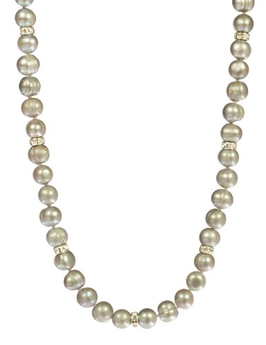 Light Grey Ringed Freshwater Cultured Pearls with Rhinestone Rondelles Necklace, 30