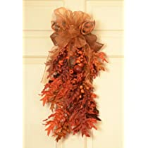 Autumn Leaves Door Swag with Sheer Bow