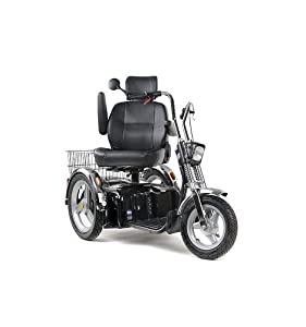 TGA Mobility Supersport Deluxe 3 Wheel Class 3 Mobility Scooter - Black & Chrome
