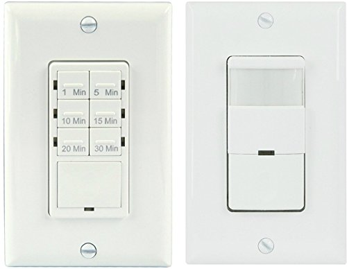 TOPGREENER TDOS5-HET06A Bathroom Fan Timer Switch and Light Sensor Switch Control,30 Minute Timer Preset - Occupancy Sensor PIR Wall Switch Single Pole 180° 500W, NEUTRAL WIRING REQUIRED, White (Humidity Switch Sensor compare prices)