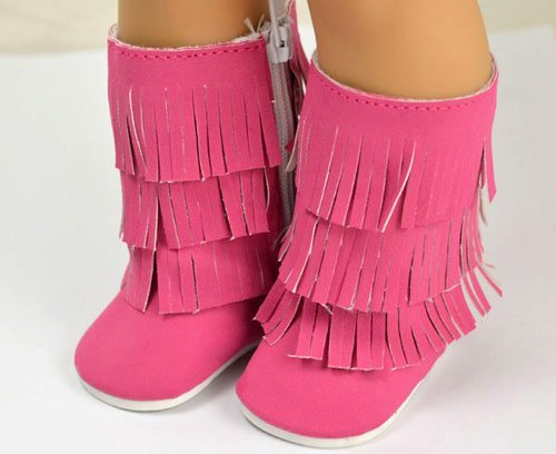 Doll Shoes Hot Pink Fashion Tassels Boots Fit 18 inch American Girl dolls - 1