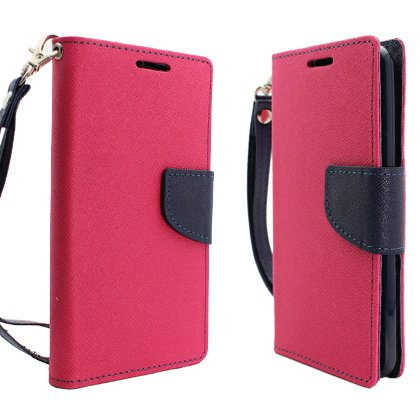 Cell Accessories For Less (Tm) For Lg Optimus G2 (At&T/T-Mobile) 2 Tone Deluxe Dual-Use Flip Pu Leather, Hot Pink/Dark Blue + Bundle (Stylus & Micro Cleaning Cloth) - By Thetargetbuys