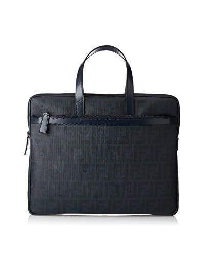 Fendi Men's Zucca Slim Briefcase, Navy