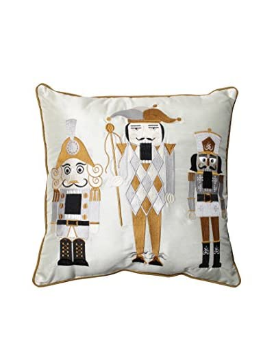 Pillow Perfect Holiday Embroidered Nutcrackers Throw Pillow, Gold/Silver