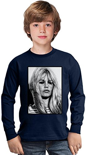 Brigitte Bardot Vintage Amazing Kids Long Sleeved Shirt by True Fans Apparel - 100% Cotton- Ideal For Active Boys-Casual Wear - Perfect For A Present Unisex 9-11 years