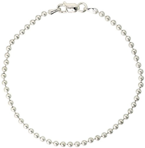 Sterling Silver Italian Pallini Bead Ball Chain Necklace 3mm Nickel Free, size 41 CM Long